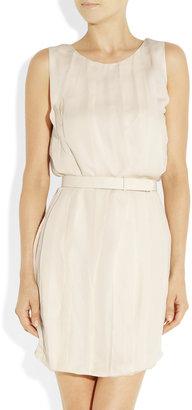 Halston Raw-trimmed silk-georgette dress