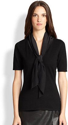Saks Fifth Avenue Collection Contrast Tie-Front Sweater