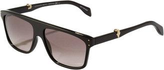 Alexander McQueen Square Plastic Aviator Sunglasses, Black