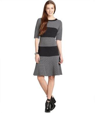 Julian Taylor grey and black striped three quarter sleeve dress
