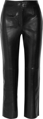 Yves Saint Laurent Cropped straight-leg leather pants