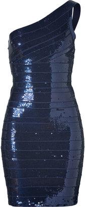 Herve Leger Navy Blue Sequined One Shoulder Bandage Dress