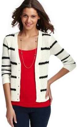 LOFT Stripe Textured V-Neck Cardigan