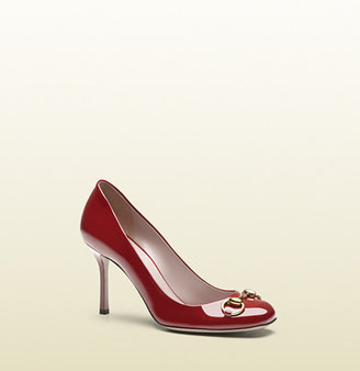 Gucci Jolene Patent Leather Mid-Heel Pump