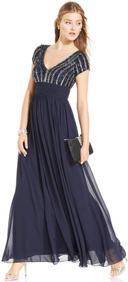 JS Collections Cap-Sleeve Beaded Chiffon Gown