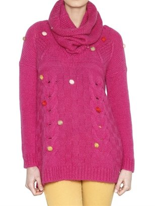 Des Petits Hauts Cable Knit Pom Pom Sweater