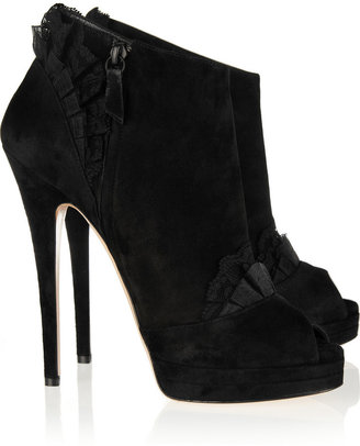 Casadei Lace-embellished suede ankle boots