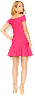 GUESS Off-The-Shoulder Flounced Bandage Dress