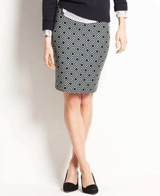 Ann Taylor Tall Diamond Print Jacquard Pencil Skirt