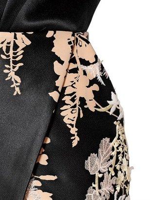Blumarine Embroidered Silk Blend Duchesse Dress