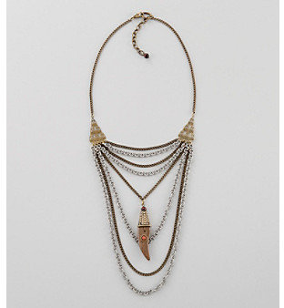 "Relativity 22"" Goldtone Bib Necklace with Horn"