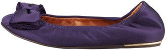 Lanvin Satin Bow-Toe Ballerina Flat, Royal