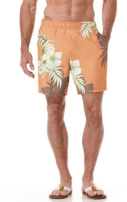 Cubavera Elastic Tropical Print Swim Trunk