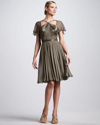 Pamella Roland Beaded A-Line Cocktail Dress
