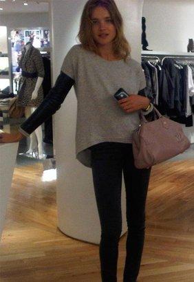 Singer22 Bobo Leather Sleeved Sweatshirt in Grey - by Generation Love
