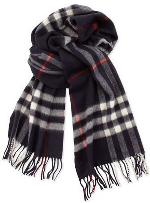 Burberry Men's Cashmere Giant Icon Scarf, Navy $435 thestylecure.com