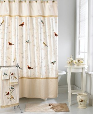Avanti Bath Accessories, Gilded Birds Shower Curtain Bedding