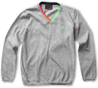 Fendi Boys' V-neck Pullover (Toddler/Little Kids) (Grey) - Apparel