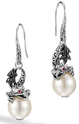 Women's John Hardy 'Naga - Lava' Dragon & Pearl Drop Earrings $595 thestylecure.com