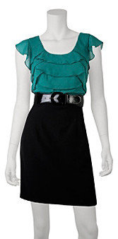 Amy Byer A Byer A. Byer Juniors' Tiered Top Belted Dress