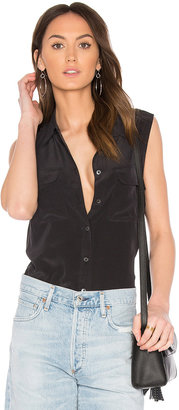 Equipment Sleeveless Slim Signature Blouse $188 thestylecure.com
