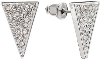 Lauren Conrad silver tone simulated crystal triangle stud earrings