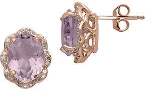 Lord & Taylor 14Kt. Rose Gold, Diamond & Pink Amethyst Earrings