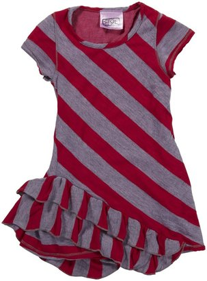 "Erge Tunic Dress ""Mixed Stripes"" - Neon Pink-2T"