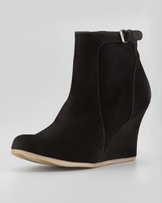 Lanvin Suede Wedge Ankle Boot, Black