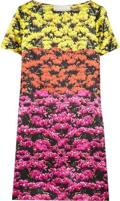 Mary Katrantzou Color-block floral-print silk-satin dress