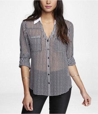 Express Houndstooth Convertible Sleeve Portofino Shirt