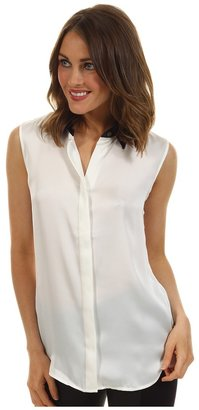 Vince Camuto S/L Contrast Collar Blouse (New Ivory) - Apparel