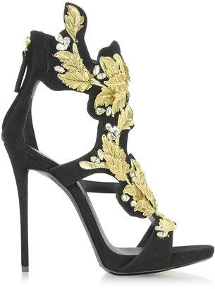 Giuseppe Zanotti Black Suede High Heel Sandal w/Crystal and Gold Leaf Filigree Detail