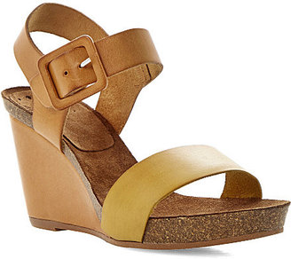 Bertie Gina leather and cork-effect wedges