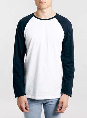Topman White/Navy Contrast Raglan Long Sleeve T-Shirt