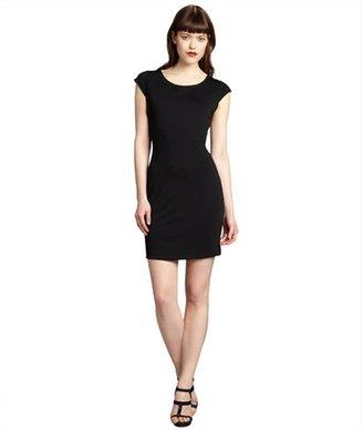 Gemma black jersey knit exposed zip cap sleeve dress