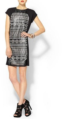 Juicy Couture Tinley Road Vegan Leather Lazer Cut Dress