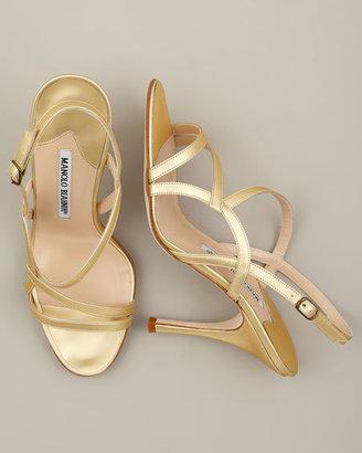 Manolo Blahnik Metallic Strappy Sandal
