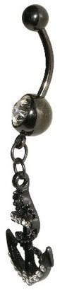 Women's Supreme JewelryTM Curved Barbell Belly Ring with Stones - Black/Clear