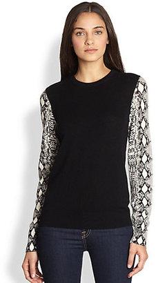 Equipment Shane Cashmere Python Printed-Sleeve Sweater