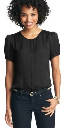 LOFT Covered Placket Short Sleeve Blouse