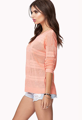 Forever 21 Striped Open-Knit Sweater