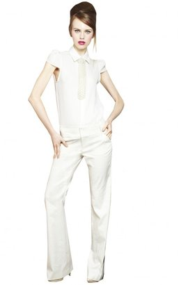 Alice + Olivia Torrey Cap Sleeve Collar Shirt