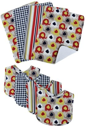 Trend Lab Elephant Parade Bib & Burp Cloth Set