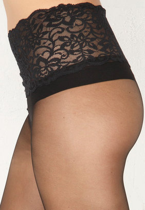 Commando Underwear Premier Sheer Tights with Lace Band in Black
