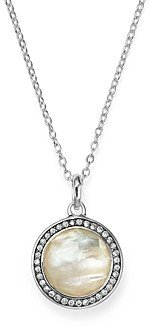 Ippolita Stella Lollipop Pendant Necklace in Mother-of-Pearl Doublet with Diamonds in Sterling Silver, 16