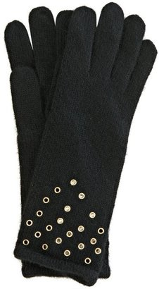 Z by Sergio Zelcer Portolano black cashmere grommet detail gloves