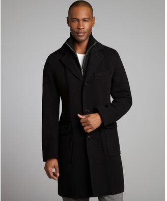 Cole Haan black ribbed wool blend leather trimmed interlined coat