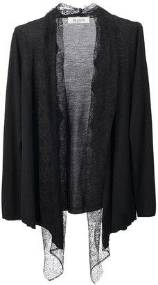 Valentino draped lace trim cardigan