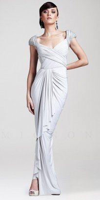 Mignon Beaded Cap Sleeve Ruched Jersey Long Evening Dresses
